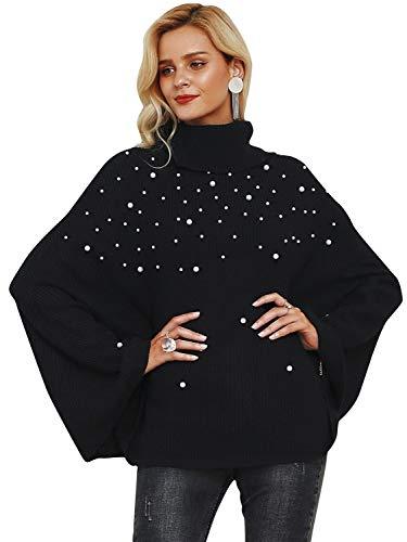 Annybar Damen Pullover Elegant Winter Warm Stehkragen Strick Sweater Oberteile Jumper mit Perlen Schwarz