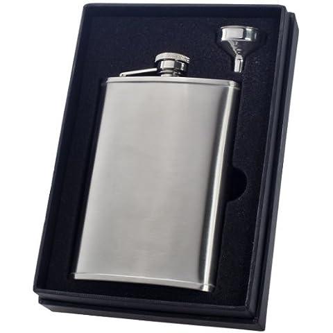 Visol Edge Liquor Flask Gift Set, Satin, 8-Ounce by Visol - Liquor Flask Gift Set
