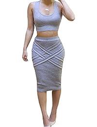 ALAIX - Atractivo conjunto de 2 piezas para mujer falda, top y falda por debajo de la rodilla