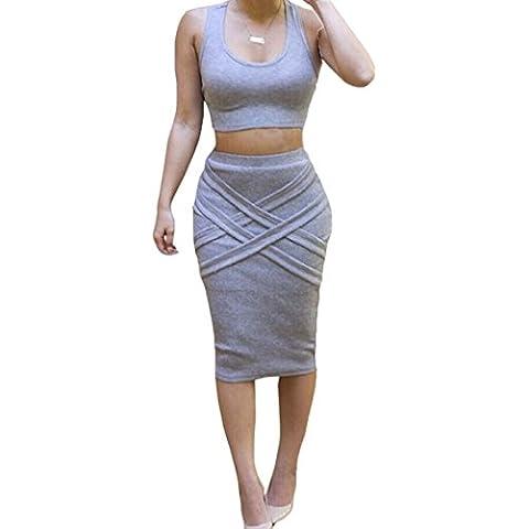 ALAIX Womens Bassiera Gonna longuette Outfit due pezzi Vestito aderente fasciatura sexy