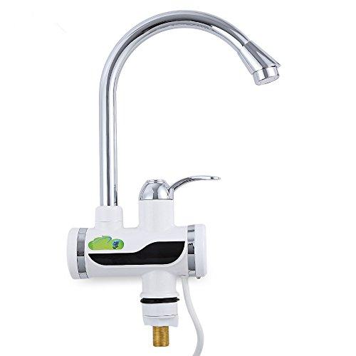 PARAMITA Schnelle Elektrische Warmwasserbereiter LED Temperaturanzeige Heizung Wasserhahn für Küche und Bad (ohne Duschkopf)