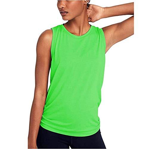 GATIK Frauen Yoga Ärmellose Weste Workout Mesh Shirts Solide Activewear Laufen Boxbluse Damen Sport Tank Tops (M, Grün)