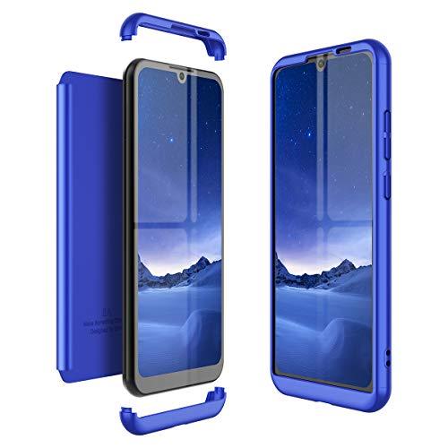 Winhoo Kompatibel mit Huawei Honor Play 8A Hülle Hardcase 3 in 1 Handyhülle 360 Grad Schutz Ultra Dünn Slim Hard Full Body Case Cover Backcover Schutzhülle Bumper - Blau