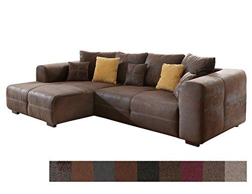 CAVADORE Ecksofa Mavericco/Polster Eck-Couch mit Kissen/in Antik-Leder-Optik mit nussbaumfarbenen Holzfüßen/Longchair Links/Größe: 285 x 69 x 170 (BxHxT)/Mikrofaser Braun (Leder Sofa Couch)