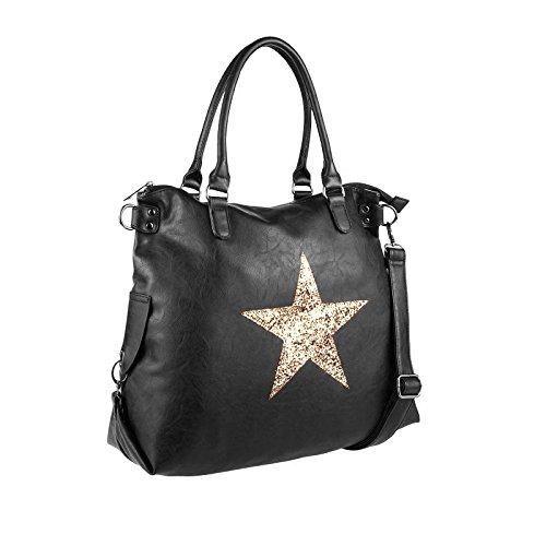 OBC ital-design DAMEN STERN TASCHE Shopper Handtasche Schultertasche Beutel Henkel CrossOver Schwarz-Gold Schwarz-Gold