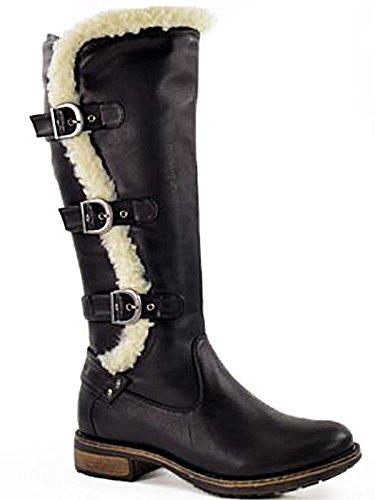 Foster Footwear , Bottes d équitation fille femme Black Faux Fur ... 27e74cd6c741