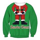 Soupliebe Damen Christmas Santa Printing Rundkragen Sweatershirt Tops Bluse Kapuzen Langarmshirt Sweatjacke Kapuzenpullover Hoodie Pullover