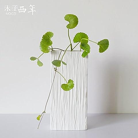 Beata. F einfach modernes Skandinavisches Floral gestreift geprägt weiß pigmentierte matt Oberfläche Wasser Zuchtperlen Keramik Vase Home Dekoration Ornament.