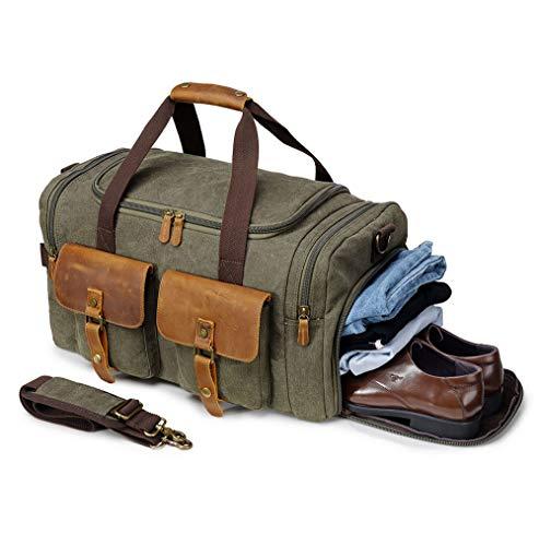 Canvas Duffel Bag Reisetasche Wochenende Wochenendtasche Vintage Carry On Tote für Damen und Herren Military M