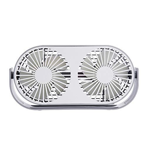 Sulifor Mini Fan Doppelkopf tragbare 360 Rotary Car Desktop Kühlung USB Lade grün/Pulver/grau