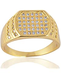 Sanaa Creations American Diamond Gold Plated Ring For Men