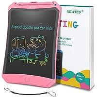 NEWYES Tableta de Escritura LCD 8,5 Pulgadas   Tablet para Dibujar para Niños. Colores Más Brillantes. Pizarra electrónica para Aprender a Leer, Escribir y Manualidades   (Rosa) Trazos de Color