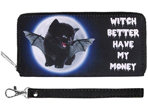Schwarze Katze mit Fledermaus Flügeln Gothic Geldbörse