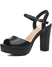 pretty nice 8bf76 595c7 Vente Pas Cher Explorer Mujer Zapatos Cuero Verano Mary Jane Sandalias  Tacón Cuadrado Puntera abierta Marrón