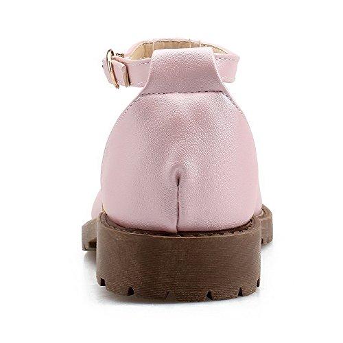 Absatz Rein Pink kong Sandalen Aalardom Damen Schnalle Zehe Niedriger Schließen Leder Pu xPg6wI0A