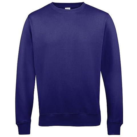 AWDis Just Hoods AWDis Unisex Crew Neck Plain Sweatshirt (280 GSM) (L) (Purple)