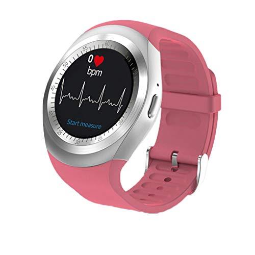 unde Unterstützung Nano SIM & TF-Karte mit Whatsapp und Facebook Männer Frauen Business Smartwatch für Android-Handy,Pink ()