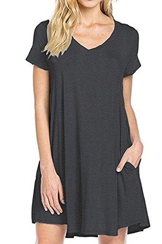 Damen V-Ausschnitt Kurze Ärmel Locker Mini Sommer Strand Kleid Darkgrey