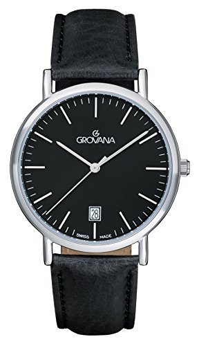 Grovana Men's Quartz Watch with Black Dial Analogue Display and Black Leather Strap 1229.1537