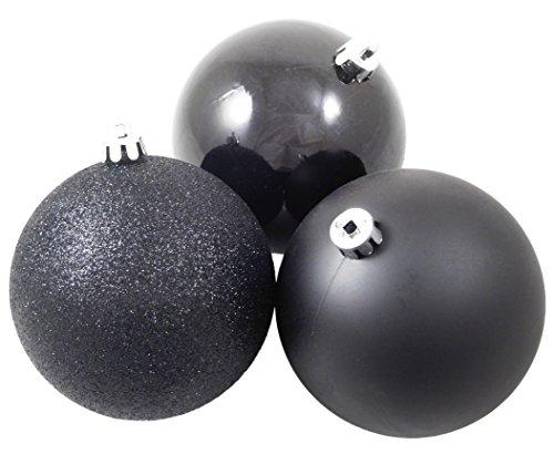 Lot de 50 - 100mm noir Arbre de Noël Babioles En Brillant, Matt & Glitter - Décorations de Noël