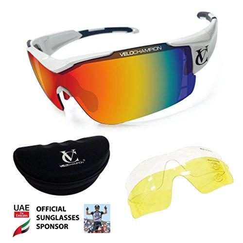 Vortex Sonnenbrille-Weiß Rahmen, Revo rot/gelb/clear lens-GRATIS Fall