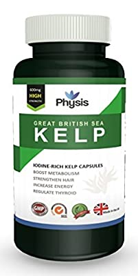 Physis Great British Sea Kelp | High Strength 600mg | Rich In Vitamins And Nutrients | Aids Weight-Loss | Reduces Fat Absorption | Nourishes And Moisturises Skin | Anti-Ageing | Regulates Thyroid Functioning And Metabolism | Improves Energy | Balances Bod