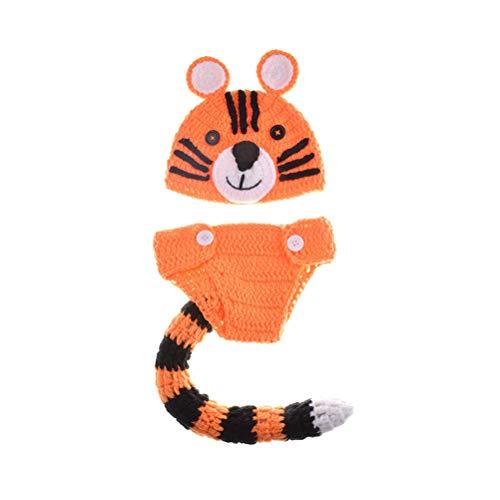YeahiBaby Neugeborene Fotografie Outfits Tiger Kostüm Weihnachten Bekleidungsset Baby Stricken Fotografie - Neugeborene Tiger Kostüm