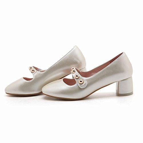 Mee Shoes Damen vierkant chunky heels Geschlossen Pumps Aprikose