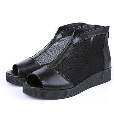 LQXZM Sandales femmes cuir confort confort décontracté printemps télévision noir Black