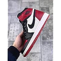 AIR JORDAN 1 Men's and woman's casual running shoes (46EU, White black red)