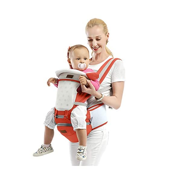 SONARIN 3 in 1 Multifunction Hipseat Baby Carrier,Ergonomic,Mummy Bag,100% Cotton,Breathable mesh Backing,Adapted to Your Child's Growing,Cozy & Soothing for Babies,Ideal Gift(Orange) SONARIN Applicable age and Weight:0-36 months of baby, the maximum load: 36KG, and adjustable the waist size can be up to 45.3 inches (about 115cm). Material:designers carefully selected soft and delicate 100% cotton fabric. Resistant to wash, do not fade, External use of 3D breathable mesh,15mm soft cushion,to the baby comfortable and safe experience. 30mm sponge filled, effectively relieve mother's abdominal pressure. Description:patented design of the auxiliary spine micro-C structure and leg opening design, natural M-type sitting. Removable backplane, hold the baby back, perfect support horizontal hold.The baby carrier and the hipseat junction have a protective pad,intimate design, so that your baby more comfortable. 2