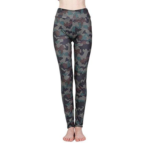 Damen Leggings Kanpola für Frauen Camo lange Camouflage Sporthose Yogahose Hose Pants (Löwen Camo)