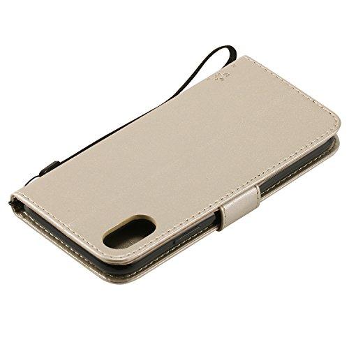 iPhone 7case 11,9cm iPhone 8cover 11,9cm [with free tempered glass Screen Protector], Fatcatparadise (TM) [cavalletto] custodia in stile retrò, elegante vintage pressato albero gatto farfalla mode Gold