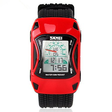 LIANHUAJIEDAO Lemumu 0961 Uhren Auto Style LED Cartoon Digital Watch Jelly Silikon 50 m Wasserdicht Schwimmen Sport Armbanduhren für Kinder, Rot