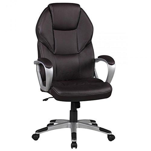 Amstyle Bürostuhl DETROIT Braun Kunstleder Schreibtischstuhl gepolstert Chefsessel 120KG Drehstuhl mit Armlehne Drehsessel höhenverstellbar Wippfunktion Weichboden-Rollen Rückenlehne mit Kopfstütze