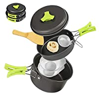 Ballery Camping Cookware, Portable Cooking Backpacking Kit, 8 Pcs Pot Pan Set with Mesh Bag for Outdoor Camping Hiking Picnic