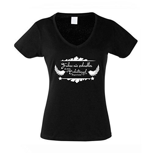 Damen V-Neck T-Shirt - Fahre nie schneller als Dein Schutzengel fliegen kann, XL, schwarz-Weiss