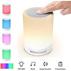Lámpara y Altavoz, Elecstars Lámpara de Noche Altavoz Bluetooth 4.0, Reproductor de Música - Compatible con Tarjeta TF , iPhone, iPad, Android Teléfonos Inteligentes- Llamadas con Manos Libres