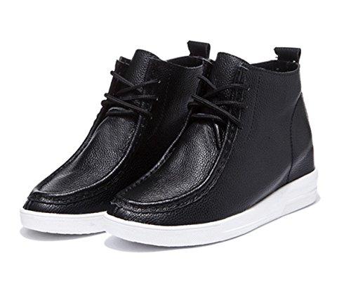 Damen Stiefeln Schnürer Einfache Sportliche Flache Sneakers Schwarz
