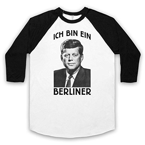 JFK Ich Bin Ein Berliner 3/4 Hulse Retro Baseball T-Shirt Weis & Schwarz