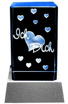 Kaltner Präsente Stimmungslicht 3D Laser Kristall Glasblock - LED Kerze ICH LIEBE DICH von Kaltner Präsente bei Lampenhans.de
