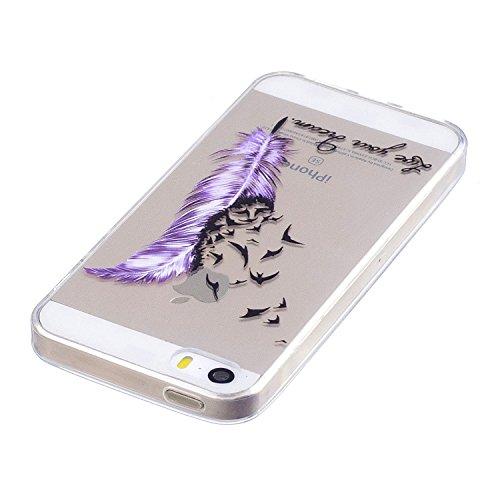 Coque pour Apple iPhone SE 5S / 5 ,IJIA Transparent Couleur Fleur de Mandala TPU Doux Housse Silicone Case avec Rotatif Bague Support Cover Bumper Shell Etui pour Apple iPhone SE 5S / 5 FD64