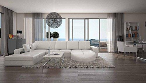 SalesFever Wohn-Landschaft XXL mit Kunstleder Bezug 335x220 cm L-Form weiß | Duragani | Designer Couch-Garnitur mit Ottomane Links | XXL Sofa für Wohnzimmer Weiss 335cm x 220cm