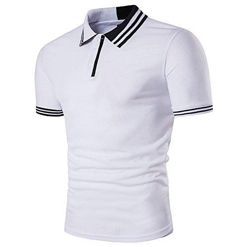 BicRad Herren Shirt Polo Kurzarmshirt Slim Polohemden Baumwolle, Weiß-Schwarz Gestreift, Gr. L (Gestreiftes Piqué Polo-shirt)