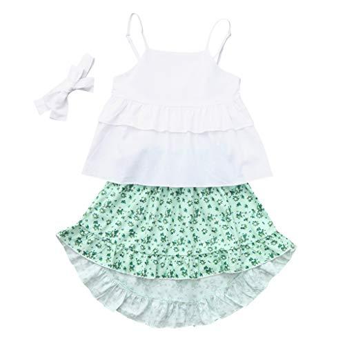 Infant-Baby-Mädchen-Kinder-Floral-Rüschen-Tops-T-Shirt-Hosen-Stirnband-Outfits-Set,Ärmellose-Gerüschtem-Blumenmuster, Volltonfarbe-Strampler, ()
