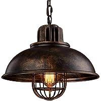 NIUYAO Lampe Suspension Lustre Abat-jour en Métal avec Grills Loft Style Chandelier Industriel Vintage Pendentif Lumière-Rouille