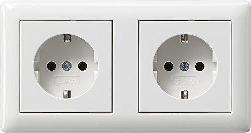 Preisvergleich Produktbild Komplett-Set Gira Standard 55 Abdeckrahmen, 2-fach - Reinweiß, glänzend mit 2x Steckdose -GIRA- -weiß-