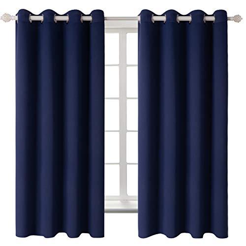 Gardine Vorhang blickdicht Verdunkelung mit Ösen in Marineblau HxB 137x117 cm Licht- Schall- Wärme- und Kälteisolierend Thermo- & Verdunklungsgardinen Inhalt 2 Stück(2x H 137 X B 117cm,Marineblau)