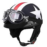 YAJAN-helmet Jet Casques de Moto, de sécurité Vintage Cruiser Moto Casque Lunettes...