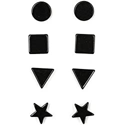 Anokhi Ada Geometric Black Magnetic Earrings for Men and Women (Combo of 4 pairs)